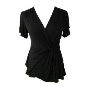 Deletta   Black Faux Wrap Knit Tee shirt   Large